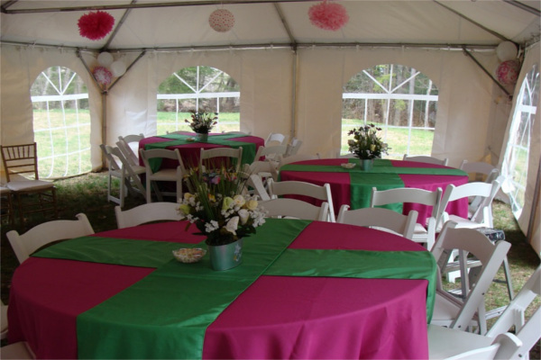 Pink & Green Baby Shower in 20x40 Frame tent