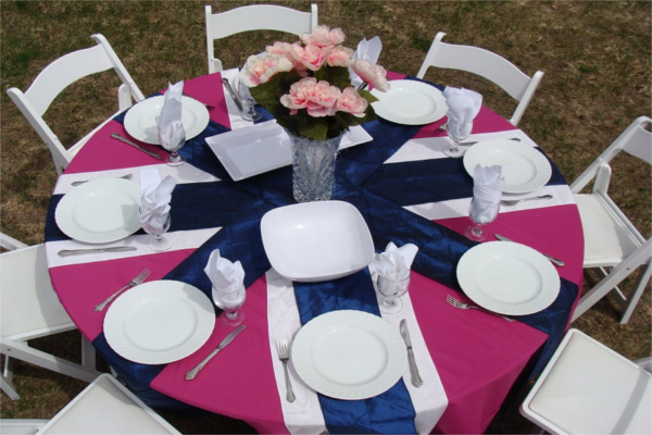 Pink & Navy Table for Outdoor Dinner Party